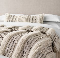 RH's Moroccan Wedding Oversized Bed Throw - Striped:In the Atlas Mountains of Morocco, Berber artisans weave wool blankets known as handira to present to Moroccan Bedroom, Moroccan Decor, Moroccan Wedding Blanket, Striped Wedding, Modern Bedroom Design, Bed Throws, My New Room, Wool Blanket, Diy Bedroom Decor