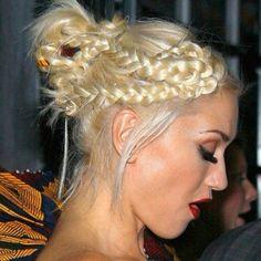 Gwen Stefani Braided Bun Updo: Cute Braided Hairstyles for Girls - Hairstyles Weekly Cute Braided Hairstyles, Box Braids Hairstyles, Braided Updo, Prom Hairstyles, Pretty Hairstyles, Halo Hairstyle, Bun Updo, Style Hairstyle, Latest Hairstyles