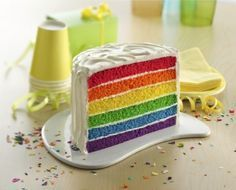 A rainbow cake is fun to look at and eat and a lot easier to make than you might think. Here's a step-by-step guide for how to make a rainbow birthday cake. Betty Crocker, Wow Wow Lemonade, Krishna Birthday, Cooking Time, Cooking Recipes, Pasta Cake, Rainbow Food, Rainbow Cakes, Novelty Birthday Cakes