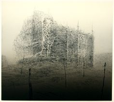 'Shiro Flat' by Japanese-born artist & printmaker Koichi Yamamoto Intaglio, 20 x 24 in. Landscape Drawings, Abstract Landscape, Abstract Art, Abstract Painters, Amazing Drawings, Monochrom, Japan Art, Print Artist, Illustrations And Posters