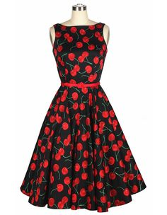 #Vintage lady dress cherry printed, #lady vintage dresses, #vintage women dress