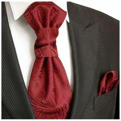 /<Grosgrain/> Burgundy Wine BOYS Scrunchie Ruche Wedding Tie-Cravat and Hankie Set