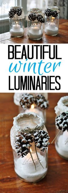 Learn how to make these gorgeous winter luminaries with fake snow and pinecones! Get the free tutorial at Crafts by Amanda
