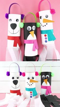 Fun and easy winter windsocks crafts for kids to make. Use our free template to create a snowman, penguin or polar bear windsock for a simple winter kids craft. snow Windsocks Winter Craft for Kids -Make a Snowman, Penguin and Polar Bear Christmas Crafts For Kids To Make, Valentine's Day Crafts For Kids, Valentine Crafts For Kids, Animal Crafts For Kids, Toddler Crafts, Preschool Crafts, Preschool Winter, Penguins And Polar Bears, January Crafts