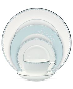 Monique Lhuillier Waterford Dinnerware, Lily of the Valley Blue Collection - Fine China - Dining & Entertaining - Macy's