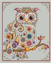 Cross Stitch Design - Paisley Owl Cross Stitch Pattern by Shannon Wasilieff Stitch Count: by 135 Materials Required: DMC, Kreinik Braid, Mill Hill Beads as listed Companion to the Paisley Peacock! Cross Stitch Owl, Counted Cross Stitch Patterns, Cross Stitch Designs, Cross Stitching, Cross Stitch Embroidery, Embroidery Patterns, Hand Embroidery, Cross Stitch Gallery, Mill Hill Beads