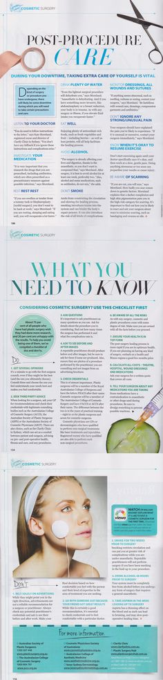 """""""Good Health"""" Magazine article with Kate Moreland discussing cosmetic surgery. Lots of great, free facts to help everyone!"""