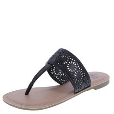 Get in on the chopout trend with the Rayna Sandal from Montego Bay Club. It features a tumbled upper with chopout design, padded footbed, and a rubber outsole. Manmade materials.