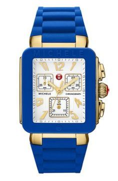 Michele Park Jelly Bean watch in purple with white dial Purple Yellow, Blue Gold, Michelle Watches, Authentic Watches, Gold Purses, White Enamel, Jelly Beans, Stainless Steel Case, Chronograph