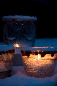 Ice Luminaries - I did this one Christmas with 2 liter bottles and cans - they turned out great!