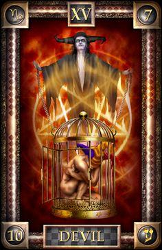 Uma abundancia de Taças cartas com o Diabo Como hum Cartão de centro / Tema UO o The Devil ao Lado do Rei de Copas (MEC Como hum Rei de Copas ...