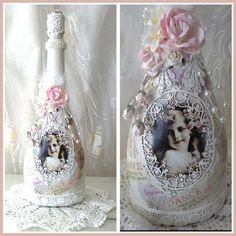 Glass shabby chic decorated bottles bottle 64 - How to decorate old bottles ...