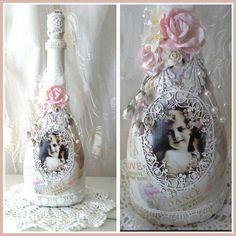 Shabby chic bottle, altered bottle, decorative bottle , decorated bottle , lacy…