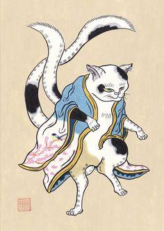 今年は綺麗に咲いたかな。 #アート #イラスト #猫 #春 #桜 #水彩画 #art #illustration #japan #cat #spring #sakura #Watercolor Illustration, Illustrations