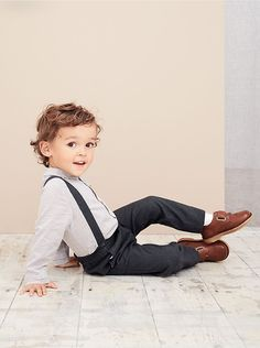 Toddler in Marie-Chantal trousers, braces and shirt