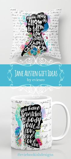 Gorgeous Jane Austen pillow and tea cup by EVIESEO from society6. More beautiful designs inspired by Pride & Prejudice and other books at her site. #janeausten #victorian #gift #bookworm