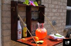Awesome Outdoor Bar Setup for Friends Gathering. Being confused decorating your porch or backyard? Surely you want outdoor bar setup in the terrace or backyard of the house so it can be a fun gatheri. Outdoor Projects, Home Projects, Furniture Projects, Diy Backyard Projects, Backyard Bar, Backyard Ideas, Patio Bar, Porch Bar, Patio Ideas