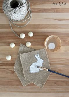 Burlap + Beads Easter Bunny Pennants - House by Hoff