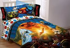 LEGO Ninjago bedding and lots of ideas for creating a Ninjago themed bedroom for a fan. I'm Mom to two boys who are crazy about Ninjago and share a bedroom. There is official licensed LEGO Ninjago bedding and you can add lots of other fun items. Twin Sheets, Twin Sheet Sets, Fitted Sheets, Bed Sheets, Lego Ninjago Ninja, Ninjago Games, Lego Chima, Ninjago Party, Single Bedding Sets