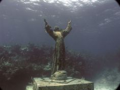 Christ of the Abyss is a submerged bronze statue of Jesus, of which the original is located in the Mediterranean Sea off San Fruttuoso between Camogli and Portofino on the Italian Riviera. It was placed in the water on 22 August 1954 at approximately 17 metres depth, and stands c. 2.5 metres tall. Read more at http://www.funzug.com/index.php/unusual-things/the-christ-of-the-abyss.html#gySj1GMKSYKD6Aec.99