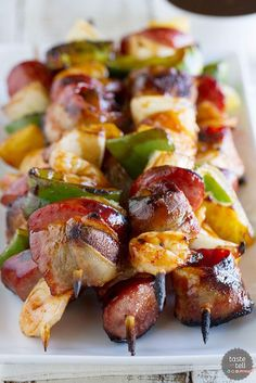 Grilled Shrimp and Sausage Kabobs. Grilled Shrimp and Sausage Kabobs Easy Grilled Shrimp Recipes, Seafood Recipes, Sausage Kabobs, Grilled Sausage, Grilled Meat, Grilled Fish, Grilling Recipes, Cooking Recipes, Grilling Ideas