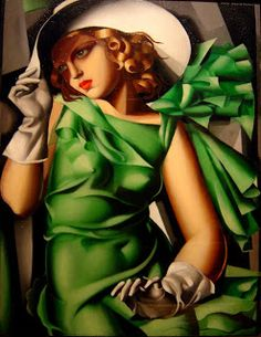 Young Lady with Gloves (Girl in Green), 1930, by Tamara de Lempicka, a Polish Art Deco painter (b.Moscow, 1898–1980) | Musee National D'Art Moderne, Centre Pompidou, Paris