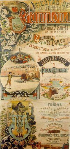 Cartel Sanfermines 1883 - Fiestas de Pamplona