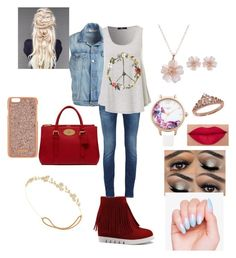 """""""Peace Love Floral"""" by vondreapowell on Polyvore featuring Frame Denim, Mulberry, Henri Bendel, Jennifer Behr, Eternally Haute and Lipsy"""