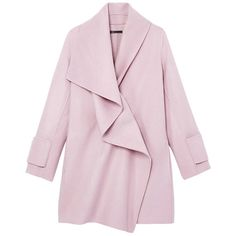 Vince Drape Neck Coat ($675) ❤ liked on Polyvore featuring outerwear, coats, jackets, coats & jackets, pink, pink wool coat, wool wrap coat, pink coat, woolen coat and drape coat