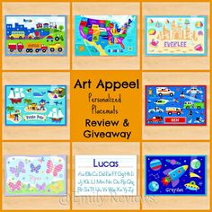 Art Appeel ~ Personalized Placemats ~ giveaway for 3 personalized placemats giveaway ends 7/15 us/canada