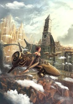 A Steampunk Fairytale Picture  (2d, fantasy, steampunk, fairytale, city, jet, plane, flying)