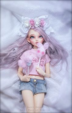 ✿• ' bjd ' ~ ' ball jointed doll ' •✿ fairy kei fashion. . .pastel. . .lavender hair. . .hair bow. . .lace. . .Angelic Pretty tshirt. . .cotton candy. . .miniature. . . cute. . .kawaii