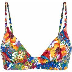 Stella Mccartney Floral-print bikini top ($55) ❤ liked on Polyvore featuring swimwear, bikinis, bikini tops, yellow, ruched swim top, ruched swimwear, swim suit tops, swim tops and floral swimwear