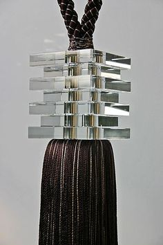 Beautiful Modern Tassel for Grey silk threads with layered square glass beads. Perfect for a Modern Window Treatment. I love designing Beautiful Windows. Tassel Curtains, Curtains With Blinds, Curtain Fabric, Casa Magnolia, Modern Window Treatments, Drapery Designs, Curtain Hardware, Passementerie, Curtain Tie Backs