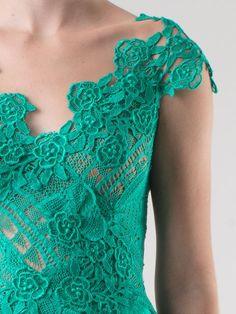 Martha Medeiros Vestido Longo Verde Água Com Recorte De Renda - Martha Medeiros - Farfetch.com