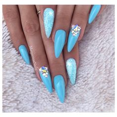 Baby Blue Almond Nails by MargaritasNailz from Nail Art Gallery - Matte Nail Polish Acrylic Nails Stiletto, Summer Acrylic Nails, Matte Nails, Pink Nails, Glitter Nails, Baby Blue Nails With Glitter, Coffin Nails, Nail Design Spring, Blue Nail Designs