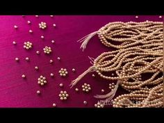 Hand Embroidery Bead Work Tutorial For Beginners Kurti Embroidery Design, Embroidery Neck Designs, Hand Embroidery Videos, Embroidery Flowers Pattern, Embroidery Works, Embroidery For Beginners, Beaded Embroidery, Simple Embroidery, Embroidery Stitches