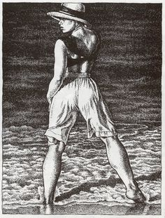 Beautiful woman with nice legs on the beach -Robert Crumb