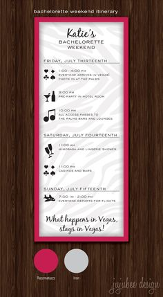 Bachelorette Party Timeline - Digital File. $20.00, via Etsy.