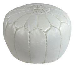 White Moroccan Luxury Pouf