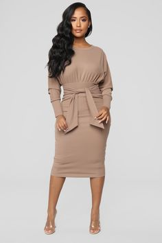 Never Too Soft Dress Taupe - Available In Navy, Mauve, Burgundy And Taupe Sweater Midi Dress Dolman Sleeve Tie Waist Back Zipper Stretch Self: Polyester Spandex Lining: Polyester Imported Burgundy Midi Dress, Taupe Dress, Ruffle Dress, Dress Black, Curve Dresses, Sexy Dresses, Ladies Dresses, Midi Dresses, Plum Dresses