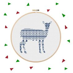 This is an Instant Download PDF Cross Stitch Pattern NO physical item will be shipped to you.  If you need supplies to finish this project please purchase the complete kit instead: https://www.etsy.com/listing/489867603/nordic-reindeer-stitch-kit-embroidery  With this Nordic Reindeer Cross Stitch kit you can craft the perfect holiday decorations. Add to a pillow for a nice, cosy Nordic feel or stitch and frame it as a lovely Christmas gift. ---------------------------------------  Stitches…