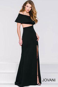Black Cutout High Slit Dress 36631