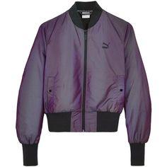 Puma Iridescent Bomber Jacket ($87) ❤ liked on Polyvore featuring outerwear, jackets, purple bomber jacket, purple jacket, flight jacket, puma jackets and blouson jacket