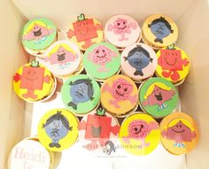 Heidi loves Mr Men and Little Miss, so her mom got us to make themed cupcakes for her 3rd birthday