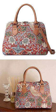 3956828d3f0c Red Flower and Bird William Morris Strawberry Thief Tapestry Top Handle  Handbag with Detachable Strap to Convert to Shoulder Bag by Signare (CONV  -STRD).