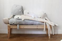 Gray Ferry whale O Stuffed Animal O Bed Bumper by BigStuffed