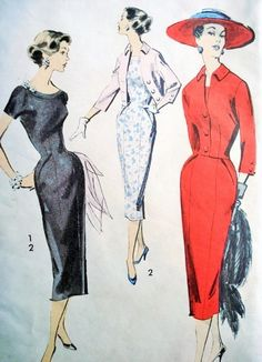 1950s Stunning Slim Dress and Jacket Pattern Advance 8116 Day or Evening Sheath Cropped Jacket Bust 34 Vintage Sewing Pattern FACTORY FOLDED