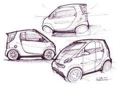 How to Draw Cars - Study:  Smart Car sketch