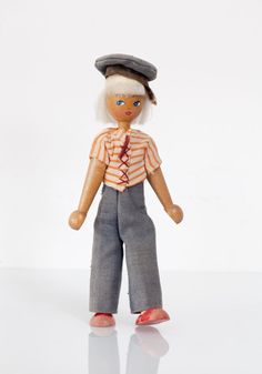 Old Vintage Wooden Character Toy Doll - Girl Power - Made in Poland Polish 2